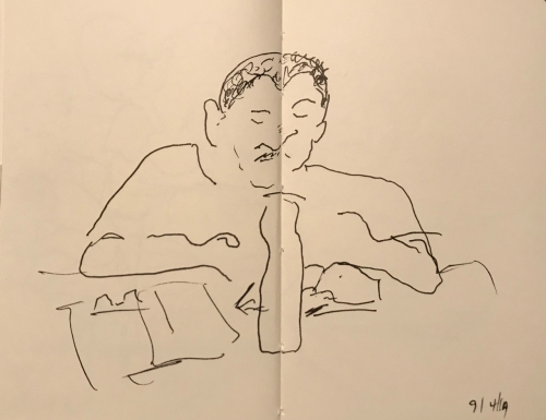 Sketch: Pen and Ink - Man Annoyed About Steel Water Bottle Being in the Middle of His Portrait