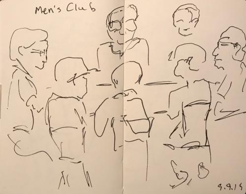 Sketch: Pen and Ink - Men's Club