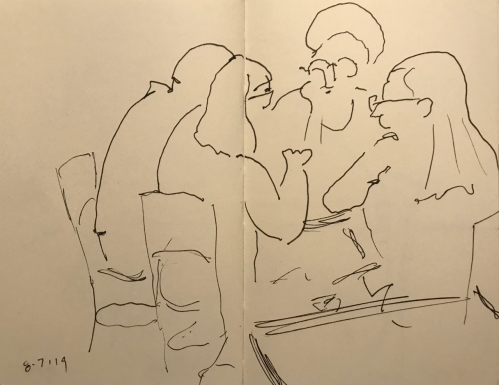 Sketch: Pen and Ink - Outline of a Conversation