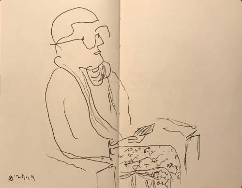 Sketch: Pen and Ink - Person With Very Close Cropped Hair in the Waiting Room in P.J.s