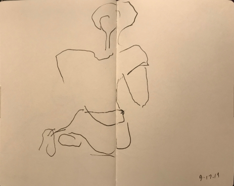Sketch: Pen and Ink - Really Blind Drawing of Seated Woman