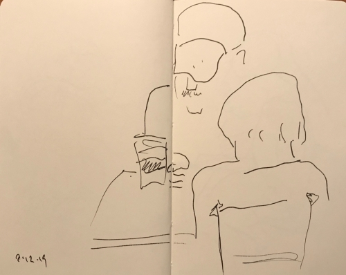 Sketch: Pen and Ink - Somber Discussion