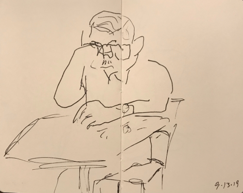Sketch: Pen and Ink - Thoughtful Man with Mustache