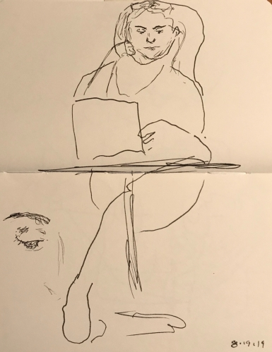 Sketch: Pen and Ink - Woman on Computer - Extra Sketch of Her Eye