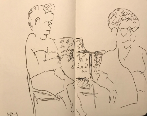 Sketch: Pen and Ink - Woman with Short Curly Hair and Another Woman Waiting