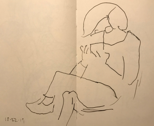 Sketch: Pen and Ink - Anxiously Awaiting a Text Message Response