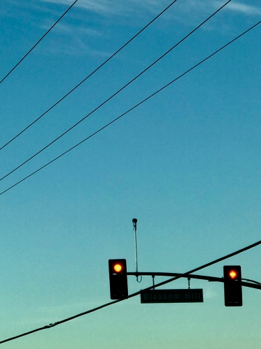 Photography: Street Photography - Blue Sky, Red Lights, Here's Looking At You