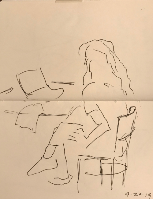 Sketch: Pen and Ink - Fingers Thrumming While Contemplating
