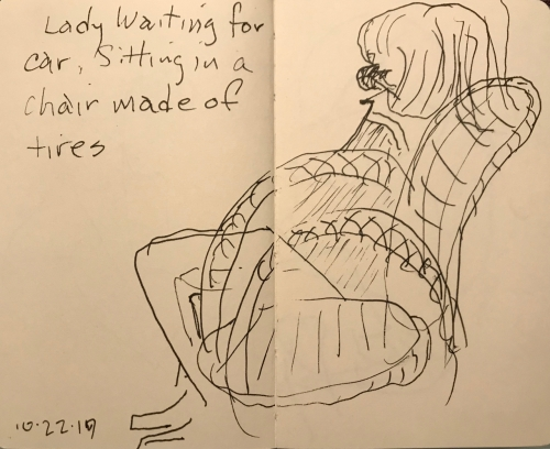 Sketch: Pen and Ink - Lady Waiting for Her Car, Sitting in a Chair Made of Tires
