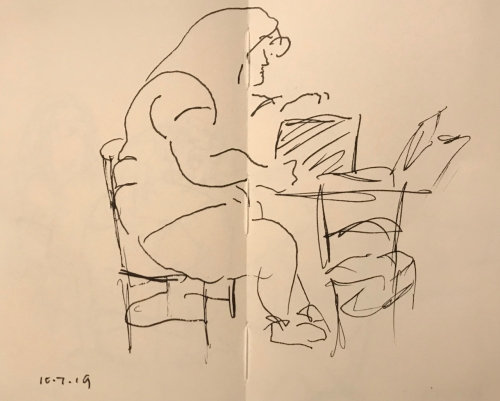 Sketch: Pen and Ink - Large Woman with Brief Case on Table
