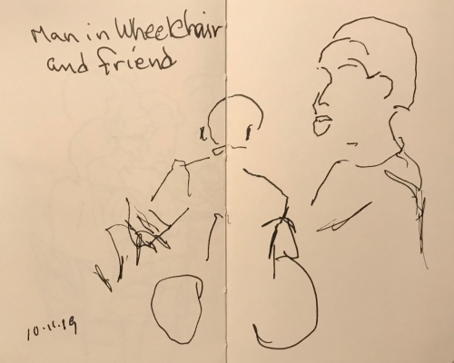 Sketch: Pen and Ink - Man in a Wheelchair and Friend