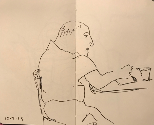 Sketch: Pen and Ink - Man with Fist on the Table