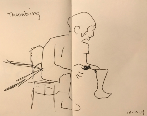 Sketch: Pen and Ink - Thumbing