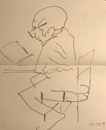 Sketch: Pen and Ink - Trembling with Concentration