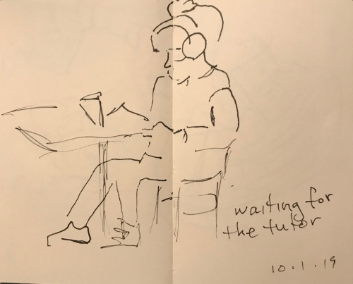 Sketch: Pen and Ink - Waiting for the Tutor