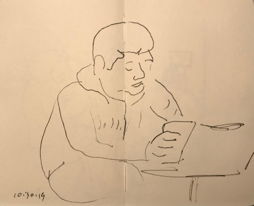 Sketch: Pen and Ink - Concentrating on the Face