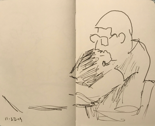 Sketch: Pen and Ink - Either a Man with Beard or a Father with Child