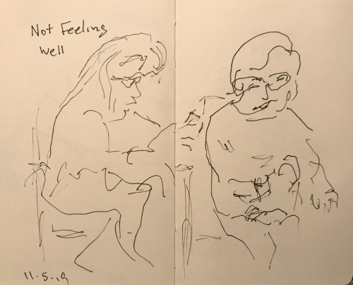 Sketch: Pen and Ink - Not Feeling Well