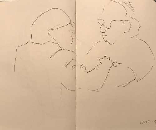 Sketch: Pen and Ink - Punctuating a Point in a Conversation