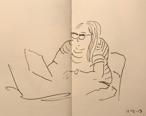 Sketch: Pen and Ink - Waiting for a Response