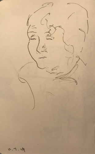 Sketch: Pen and Ink - Woman of Age Waiting in the Dentist's Office
