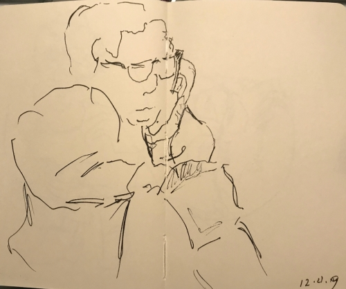 Sketch: Pen and Ink - Checking the Purse During Break in Shopping