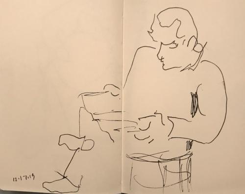 Sketch: Pen and Ink - Frankenstein Between Takes