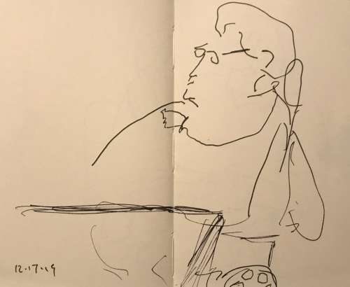Sketch: Pen and Ink - Large Woman in Wheeled Cart