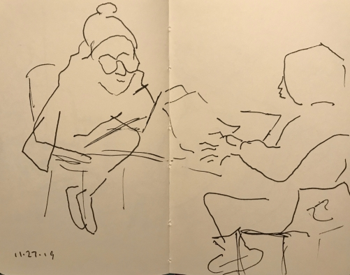 Sketch: Pen and Ink - Nervous Students Before an Exam