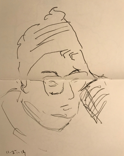 Sketch: Pen and Ink - Portrait of a Person Thinking
