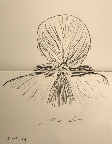 Sketch: Pen and Ink - Woman with Ponytail Over Her Scarf