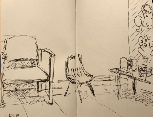 Sketch: Pen and Ink - X-ray Waiting Room with Kid's Corner