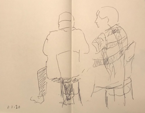 Sketch: Pen and Ink - Couple, Woman with Plaid Jacket