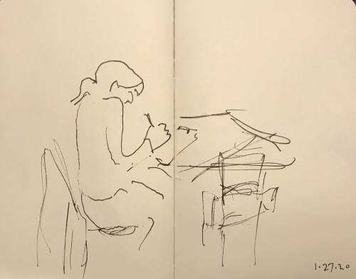 Sketch: Pen and Ink - Hunched Over Writer