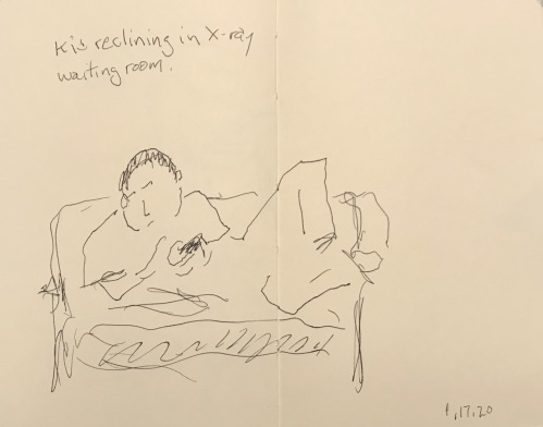 Sketch: Pen and Ink - Kid Reclining in X-ray Waiting Room