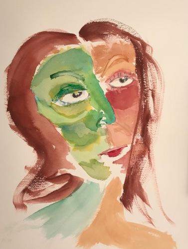 Watercolor: Portrait - Long Necked Woman