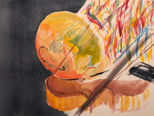 Watercolor: Abstract - Man and Music