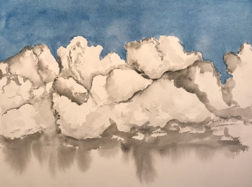 Watercolor: Clouds - Original Clouds with Leftover Black and White