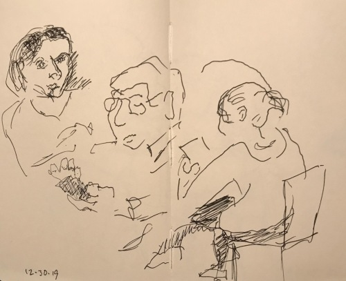 Sketch: Pen and Ink - People on Cell Phones
