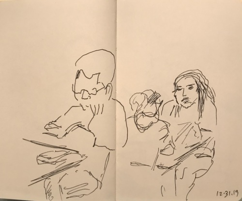 Sketch: Pen and Ink - Portrait of a Reading Person