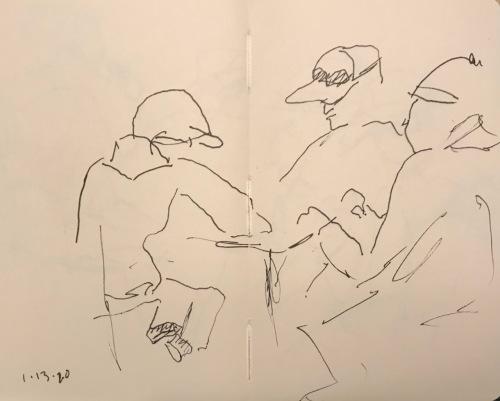 Sketch: Pen and Ink - Secret Meeting