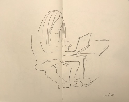 Sketch: Pen and Ink - Slouchy Posture