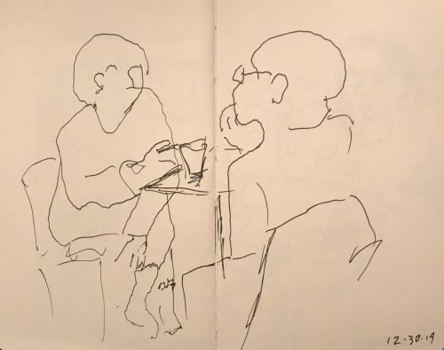 Sketch: Pen and Ink - Thoughtful Conversation