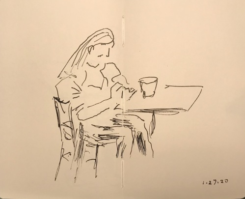 Sketch: Pen and Ink - Thoughtful Meditation
