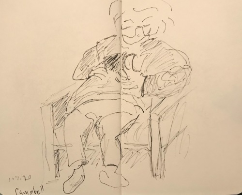 Sketch: Pen and Ink - Waiting Woman with Phone