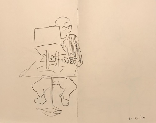 Sketch: Pen and Ink - Man Looking at Computer on Laptop Stand