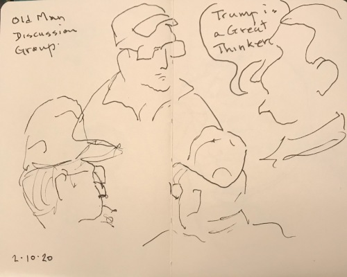 Sketch: Pen and Ink - Old Man Discussion Group