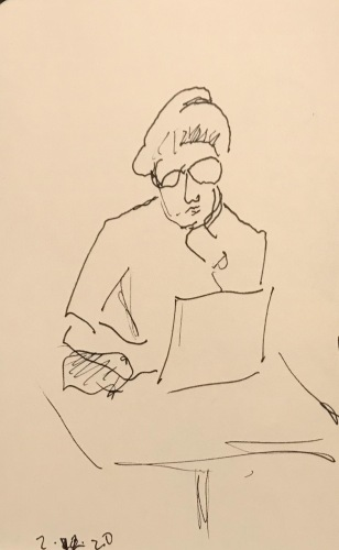 Sketch: Pen and Ink - Portrait: Woman with Bun on Computer