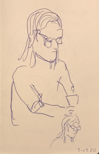 Sketch: Pen and Ink - Seated Person with a Better Thumbnail Sketch of Her Head