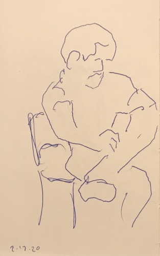 Sketch: Pen and Ink - Seated Person with Crossed Legs